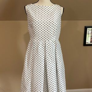 Danny and Nicole dress white with black dots size8